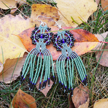 Long micro macrame earrings - Tassel Fringe Deep Blue Sage Green Unique Beadwork