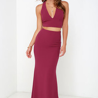 Flutterby Wine Red Two Piece Maxi Dress