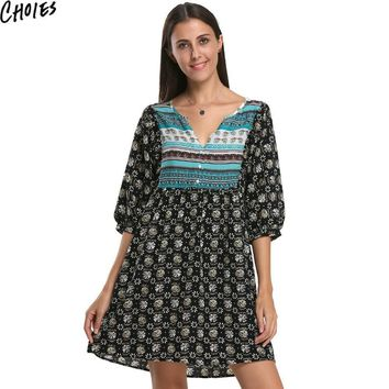 Women Black V Neck Color Block Vintage Boho Print 3/4 Sleeve Mini Babydoll Shift Dress Summer New Ethnic A Line Clothing