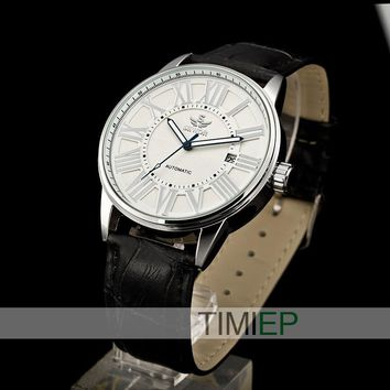 SEWOR Mens Casual Hollow Mechanical Watches Leather Belt Wrist watch Dial Gears