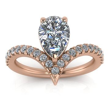 Pear Moissanite Engagement Ring Diamond Setting - Riviera