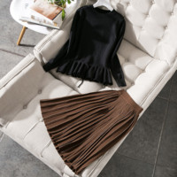 Women's new autumn and winter round neck lace sweater pleated skirts set