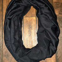 Black Solid Infinity Scarf