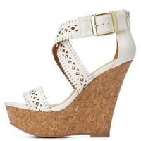 Laser Cut-Out Platform Wedge Sandals by Charlotte Russe