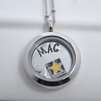 Military Floating Locket Necklace Personalized with Charms