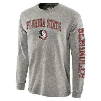 Men's Heathered Gray Florida State Seminoles Distressed Arch Over Logo Long Sleeve Hit T-Shirt