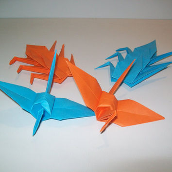 Wedding origami crane, Set of 100 wedding crane,  wedding decor origami crane, blue crane, orange crane, origami crane, decoration crane
