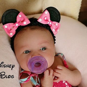 Minnie Mouse Ear Hair Clips on a Headband with Bows...Baby Style...size Small...You Pick Her Bow Color