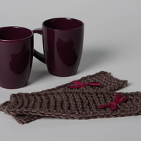 Set of 2 handmade ceramic cups with brown decorative knitted cozies with bows
