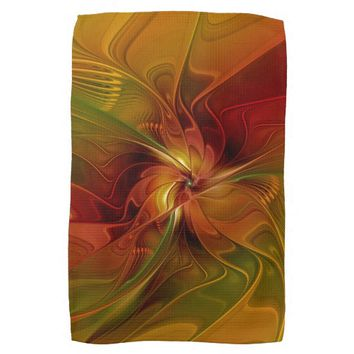 Warmth, Abstract Fractal Art Hand Towels