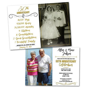 We Still Do Invitations - 50th Anniversary Invitation - Gold 50th Wedding Party Invites - Then and Now Anniversary Party Invitations Photos