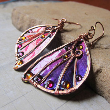 Sidhe Wings Earrings - Experimental Wings in Blue and Purple Duochrome - Iridescent Fairy Wing Earrings