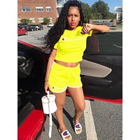 Champion Popular Woman Casual Print Short Sleeve Shorts Suit Two Piece Yellow
