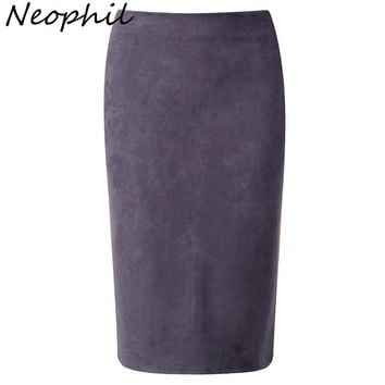 Neophil 2017 Winter Gray Pink Women Suede Midi Pencil Skirts Causal High Waist Sexy Stretch Ladies Office Work Wear Saia S1009