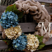 Monogrammed Burlap Wreath, Hydrangeas, Monogrammed Letter, Any time Wreath