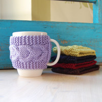 Knit coffee mug cozy with cable pattern, hand knitted, purple