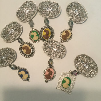 Sliver Vintage Cameo BROOCHES AND PINS