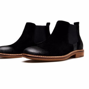 Distressed Suede Chelsea Boots Black