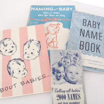 Vintage Baby Name Books, 1950's Baby Name, Baby Care Booklets, Mid Century Paper