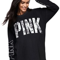 Pink Long Sleeve Hot Sale Black Tops [103285620751]