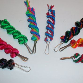 Eight Holiday Colored Gimp Keychains Set
