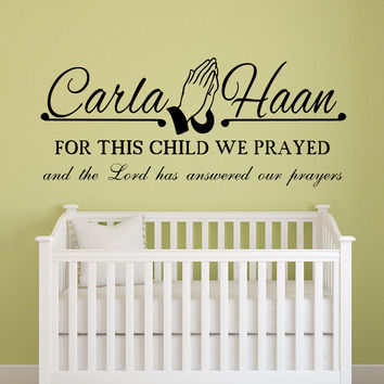 For this child we prayed personalized name wall decal