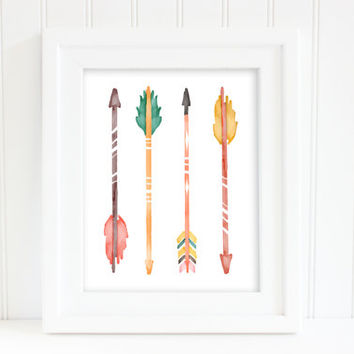 Watercolor nursery Arrows - Designer Print - Printable Poster - Instant Digital Download - wall art decor - fashion decor art - designer art