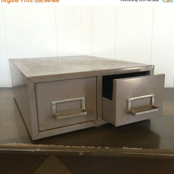 ON SALE Vintage Card Catalog Two Drawer Industrial File Cabinet Industrial