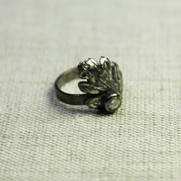 Leaf ring with crystal zircon - fine silver ring size 6 ring - organic ring size 6 - elvish jewelry - arttistic ring - engagement ring