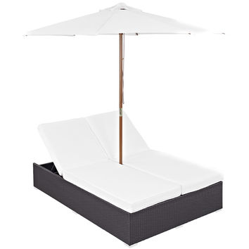 LexMod Arrival Outdoor Wicker Rattan Patio Dual Chaise Lounges With Espresso White Sun Shade