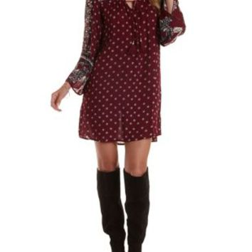 Burgundy Cmb Boho Print Shift Dress by Charlotte Russe