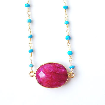 Adaire Ruby and Turquoise Necklace