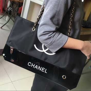Chanel environmental bag lady's college wind portable black waterproof cloth with a single shoulder bag, shopping bag