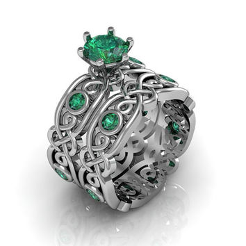 Celtic Ring:  Created Emerald Sterling Silver Celtic Knot  Love and Friendship Engagement and Promise Solitaire Ring Set