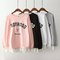 Lace Patchwork Basketball Letter Print Pullover Sweatshirt