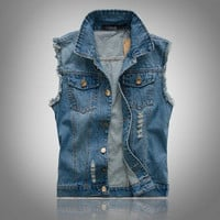 Men's Comfortable Stylish Sleeveless Outwear Denim Jeans Vest