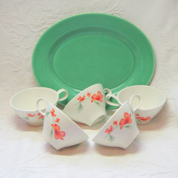Vintage Iroquois China Orange Tea Coffee Cups Saucers Orange Green Nasturtium Flowers Iroquois Impromptu  Luau Tea Cups Ben Seibel Designer