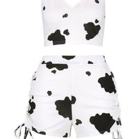 Cow Print Bralet & Short Co-ord Set | Boohoo