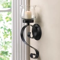 Candle Wall Sconce-Simple Country Black Iron
