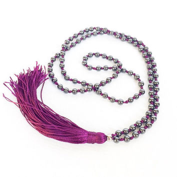 Long Beaded Necklace Tassel Boho Jewelry Tassel Necklace - Mala Necklace 108 Mala Prayer Beads - Purple Necklace