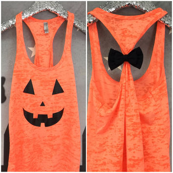 Halloween Tank, BOW Tank Top, Halloween, Halloween Shirt, Jack O Lantern, Happy Halloween, Witches, Gym Tank, Workout Tank, Pumpkin Shirt