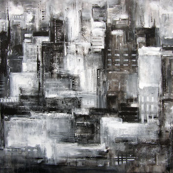 """Chicago Skyline Art Painting - """"Within the City at Night"""" - 36"""" x 48"""""""