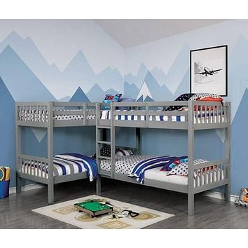 Hannah Grey Corner Quadruple Bunk Bed