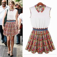 Chic Princess Turndown Collar Sleeveless Pleated Womens Floral Mini Dress Tunic