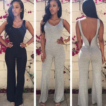 rompers womens jumpsuit 2016 summer new arrival fashion casual combinaison femme solid O-Neck backless bodysuit sexy jumpsuits