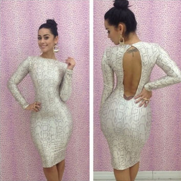 White Animal Print Cut-Out Back Bodycon Dress