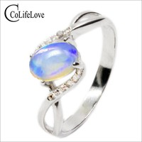 Promotion opal stone ring 0.5ct 4*6mm natural Australian opal gemstone silver ring solid 925 sterling silver opal ring for lady