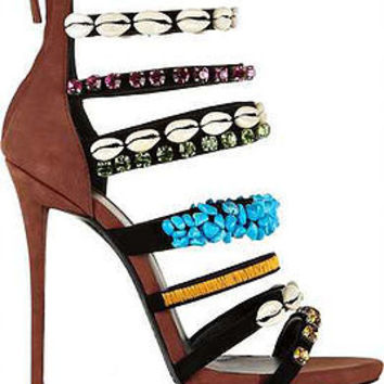 Brea Suede Seashell Stiletto Sandals