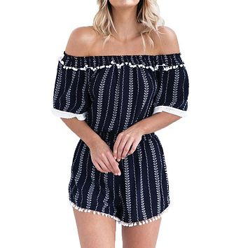Summer Striped Print Rompers Womens Jumpsuit Sexy Off Shoulder Short Overalls For Women Jumpsuit Beach Party Playsuit