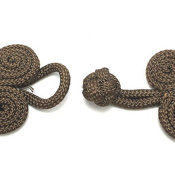 "Frog Closure Chocolate Brown Soft Cloth Rope 4"" x 2"" each side"